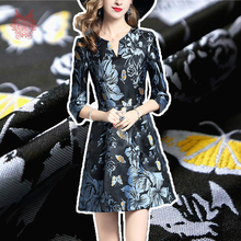 American style elegant blue floral butterfly jacquard brocade fabric for dress coat jacquard tissue tecidos cloth yarn SP4571(China)