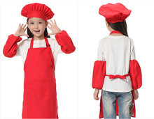 2015 Hot Sale Childrens Red Kitchen Canvas Chef Aprons Kids Hanging Cute Quality Cook Apron Uniforms Apparel Free Shipping