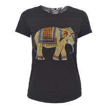 New fashion Rhinestone Elephant handwork t shirts women summer T SHIRT 2018 novelty design casual harajuku top tees for girls