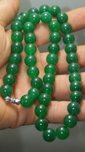 Wholesale Beautiful china jade necklace 10mm Beads Green color exquisite hand made(China)