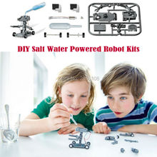 DIY Toy Salt Water Powered Science & Discovery  DIY Robot Assembling Blocks Bricks Assembles Educational toys for Kids