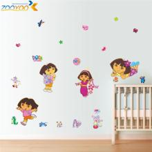 dora explore wall decals for kids room decor nursery wall art removable peel and stick cartoon educational wall stickers