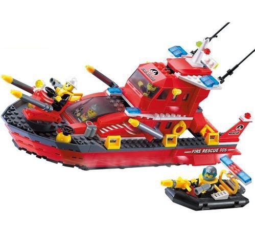 Legoe Compatible Enlighten 3D DIY Police Fire Boat Construction Brick Educational Toys For Children Gift Building Blocks Sets<br>
