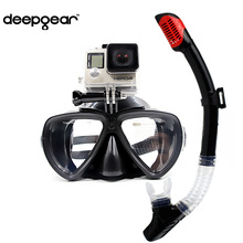 DEEPGEAR Detachable camera mount mask dry snorkel gears Twin lens low profile scuba diving mask black silicone underwater mask