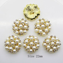 Hot 10pcs/set Gold 22mm Round  Rhinestones Buttons Pearl button wedding decoration Diy Buckles  Diamante Cryusta New 2017