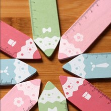 Hot sale sweet design good quality wholesale    colourful Pencil  wood Rulerbookmark15 CM straight ruler .cute lovey school stat