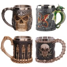 Personality 3D Cup stainless steel mug skull resin creative skull Knight coffee cup