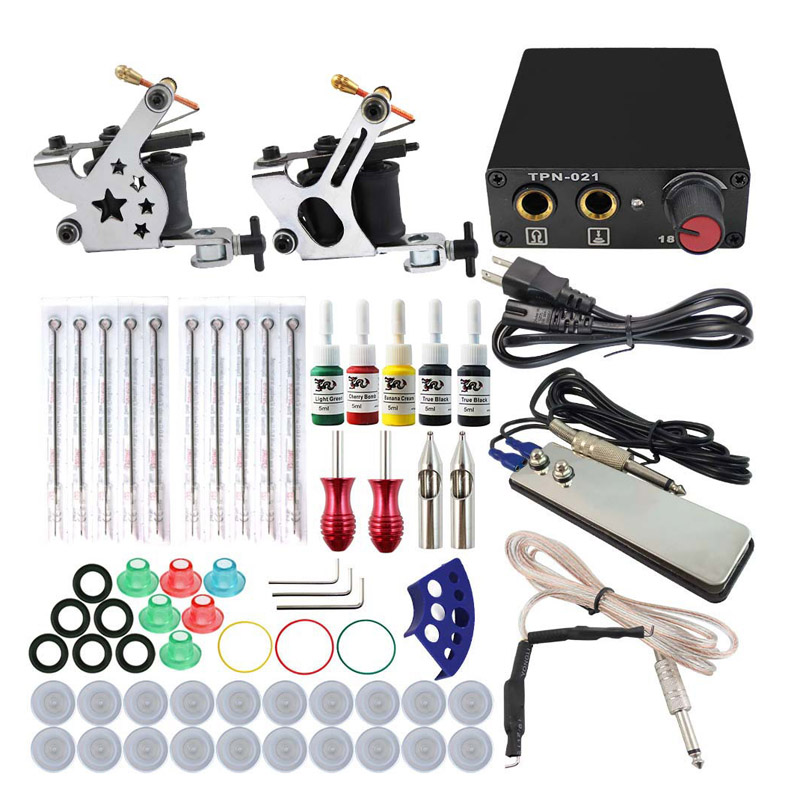 Complete Tattoo Machine Kit Set 2 Coils Guns 5 Colors Black Pigment Sets Power Tattoo Beginner Grips Kits Permanent Makeup <br>