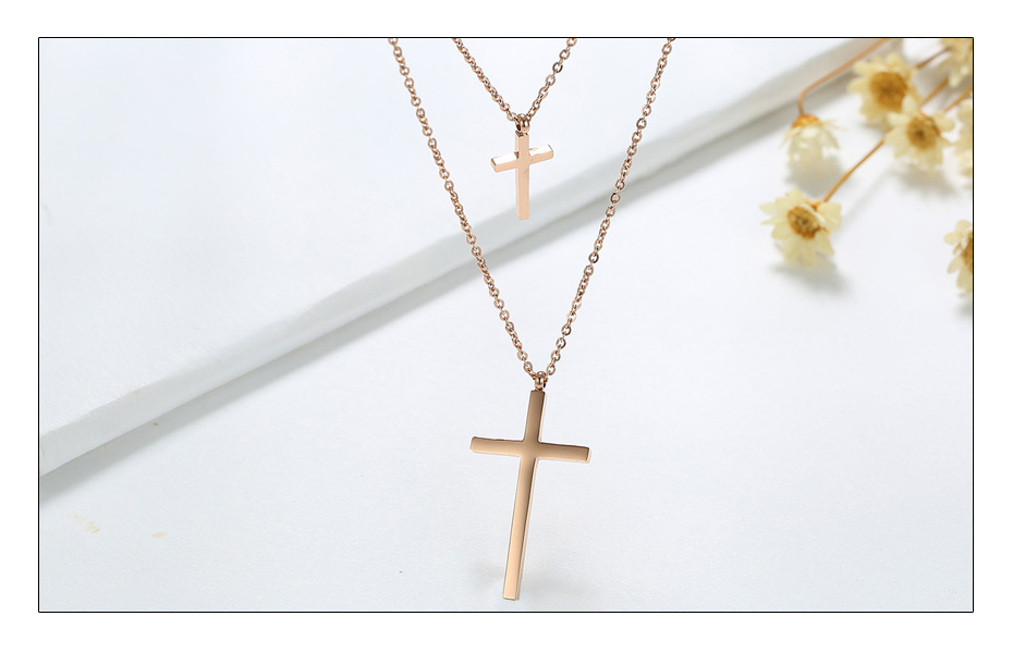 Meaeguet Rose Gold Color Stainless Steel Christ Cross Pendant For Women Double Chain Chokers Necklaces Jewelry Accessories (4)