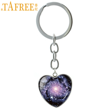 TAFREE Charm spiral galaxy nebula pendant key chain ring Hand Crafted Planet Solar System Cosmos Stars keychain jewelry HP129(China)