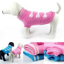 Dog Sweater Dog Clothes Bone The Bold Color Pet Coats Lovely Pet Sweater(China)