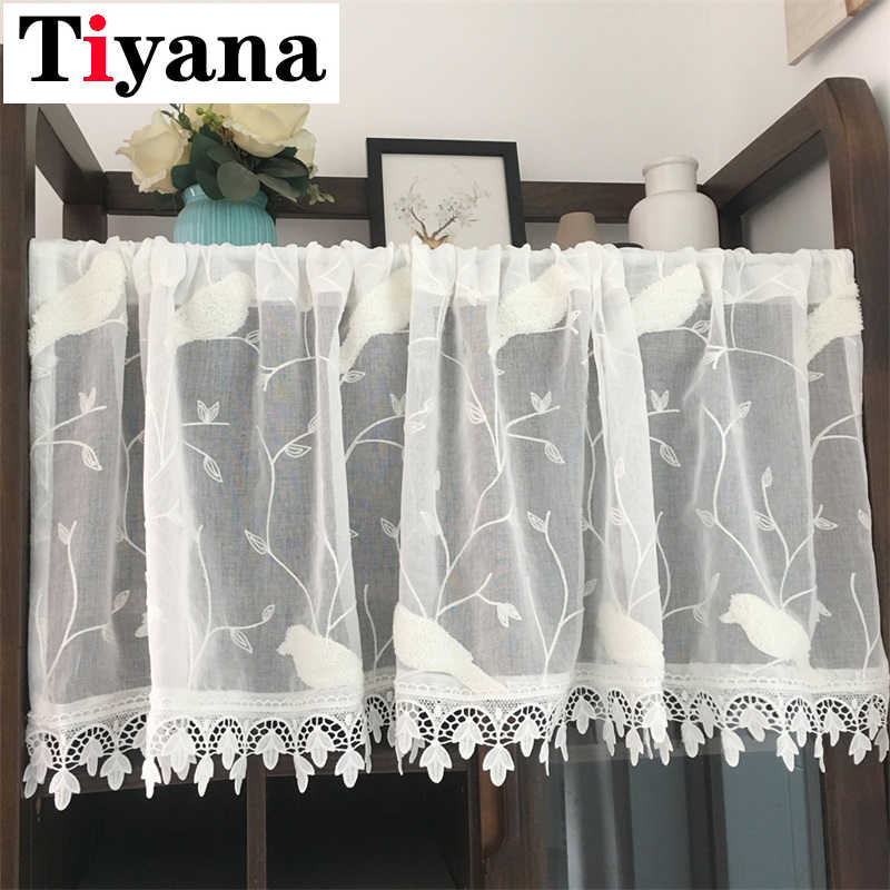 Pastoral White Embroidered Birds Small Half Curtains For Kitchen Door Occlusion Short Window Screen Laciness Partition SC026D4