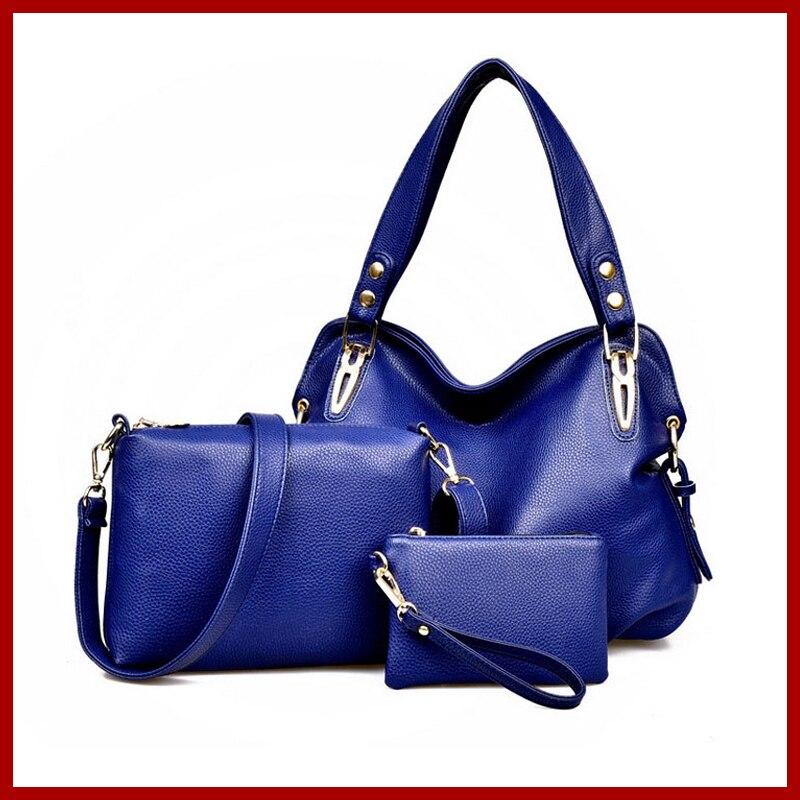 Hot Sale New 2016 Fashion Brand Women Genuine Leather Handbags Shoulder Bags Tassel Women Messenger Bags Casual Tote 3 Sets<br>