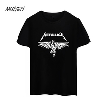 MULYEN Summer Cotton O Neck T Shirt Men Women Heavy Metal T-shirts Metallica Rock Music Casual Short Sleeve Top Tee Camisetas