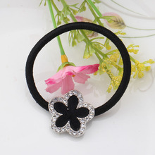 1PC Simple Girls Black Flower Scrunchy Elegant Women Floral Hair Ring Gum Accessories Elastic Hair Band With Shiny Rhinestone