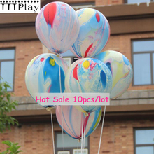 Hot Sale 10pcs/lot 12inch Rainbow Printed Latex Balloons Inflatable Air Balls Wedding Decoration Birthday Party Balloon Supplies(China)