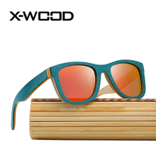 X-WOOD Luxury Best Polarized Sunglasses Men Women Green Skateboard Wood Red Mirror Sunglasses Brand Designer Sunglasses(China)