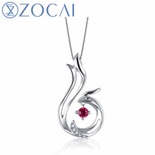 ZOCAI Brand Phoenix 0.04CT Natural Ruby Pendant Real 18K Rose Gold 0.01 CT Certified Diamond with 925 Silver Chain D04542(China)