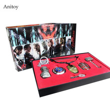 6pcs/set Marvel Avengers Age of Ultron Thor Hammer Cosplay Weapons Metal Necklace Pendant Keychain Key Ring KT448(China)