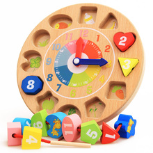 2016 New Arrival Montessori Wooden Animal Block Toys Animal Figure Clock Colorful Geometric Assembling Blocks Toys Birthday Gift(China)