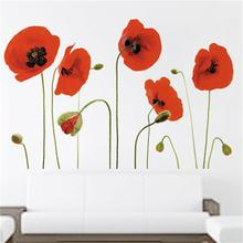 DIY Elegant Flower Wall Stickers 3D Red Blossom Wall Stickers Furnishings Romantic Living Room Decoration Decor 60*90cm(China)