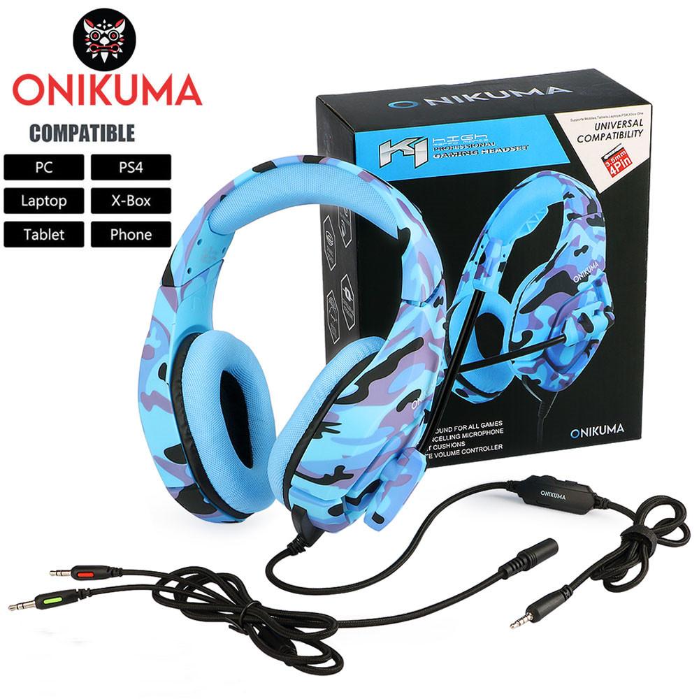 ONIKUMA K1 PS4 Cuffie da gioco Cuffie con cavo Cuffie stereo per PC Cuffie con microfono per il nuovo Xbox OneLaptop Tablet Gamer (1)