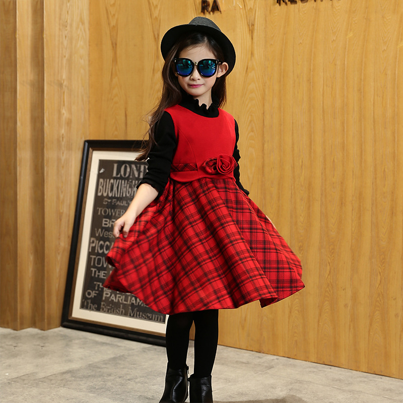 plus size baby girl dress autumn spring sleeveless one neck patchwork plaid floral pattern Maone dress kids girl clothing red<br><br>Aliexpress