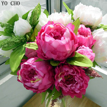 YO CHO autumn decor home wedding decoration mariage rose DIY 7 peony flower heads bouquet fake peony artificial flowers plants(China)