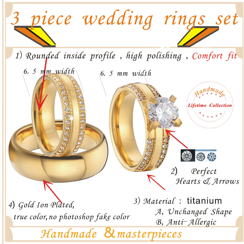 China wholesaler beautiful custom gold color 3 pieces titanium steel couples wedding band engagement rings sets anel (4)