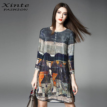 100% Real Silk Dress 2017 Women Spring Vintage A-line Printing Loose Plus Size Dresses Top Quality Three Quarter Sleeves(China)