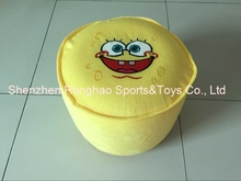 Cartoon Style Plush Villus Inflatable Stools Pouf Chair Seat Bedroom Lovely Spongebob Stool Ottomans