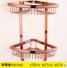 Top quality brass rose gold double tiers bathroom shelves with robe hook basket holder bathroom soap holder bath shampoo shelf