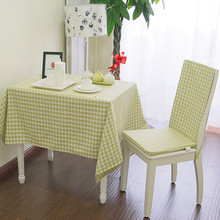 Fashion small rustic fresh green plaid yarn dyed table cloth fabric tablecloth gremial table runner customize