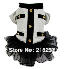 Retail New Arrival Gray Pet Dogs Dress Coat Free Shipping By china post 2013 new clothing for dog(China)