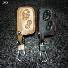 2017 latest High quality Genuine Leather Key Case for Toyota Lexus 4 buttons remote control protect shell Auto Accessories(China)