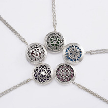1pcs Vintage 3D Pattern Carved Aromatherapy Essential Oil Diffuser Locket Necklace For Sweater Necklace Christmas Gift