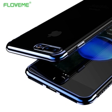 FLOVEME Luxury 3D Arc Gold Plated for iPhone 7 Plus Case Soft Clear Black Back Nature Transparent Case For iPhone 7 Silicone