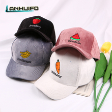 LANHUIFD The New Fruit Embroidery Corduroy Cap Korean Version Of The Trend Baseball Cap Trendy Couple Curved Hat Wholesale