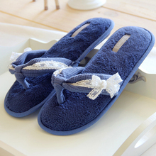 Summer Navy Blue Clip toe slipper Women Waffle Grace Lace Bowtie Home flip flops slip indoor air conditioner cool Coral slippers