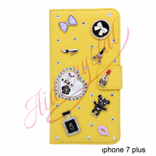 Aidocrystal top designer cell phone covers Luxurious yellow leather flip crystal cell phone cases for iphone 7 plus(China)