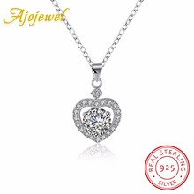 Ajojewel Real 925 Sterling Silver Heart Necklace Zirconia 45CM Pendants & Necklaces Women Fine Jewelry Gifts