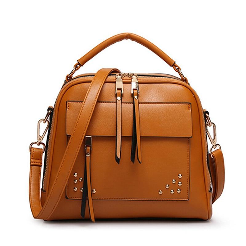 New PU Women Leather Handbags 2015 Fashion Women Shoulder Bag Rivet Handbags New Design Women Messenger Bags Leather Bag<br>