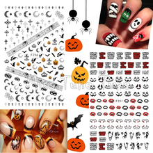 1 Sheet  Halloween Nail Art 3D Stickers Premium Quality Nail Decoration Nail Tips Decals Skull Pumpkin Spider Ghost Vampire Bite