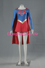 Stock mujeres superman cosplay superhéroe supergirl dress alta calidad para adultos kid party carnaval de halloween por encargo