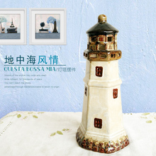 Ocean ceramic lighthouse desktop decoration tv cabinet decoration incense lamp architecture light tower home decor(China)