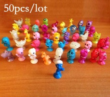 50pcs/lot Mini Sucker Dolls kids Marine Monster Animal Cupule Action Figure Toys Cartoon Suction Cup Capsule Model Puppet gift