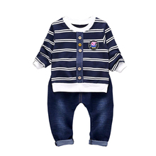 BibiCola Baby Boy Clothes Sets Gentleman Striped Tops +pants Suit Long Sleeve Kids Boy Girl Clothing Set kids clothes suit(China)