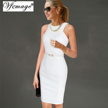 Vfemage Womens Elegant Sleeveless Belted Wear To Work Office Business Party Casual Summer Bodycon Slim Fitted Pencil Dress 6406(China)