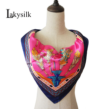 [Lakysilk]Women Large Square Scarves Female Silk Satin Scarf Feather Digital Printed Head Shawls Accessories 90*90cm