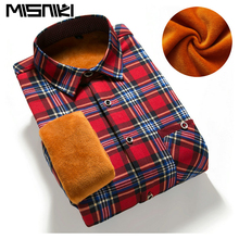 MISNIKI 2017 Slim Fit Men Winter Long Sleeve Dress Shirt Warm Casual Vintage Corduroy Mens Formal Shirt Camisa Masculina